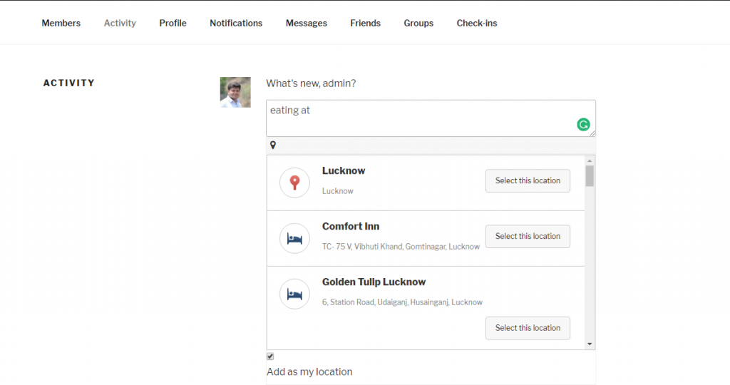 Enable Check-In Feature On BuddyPress Website