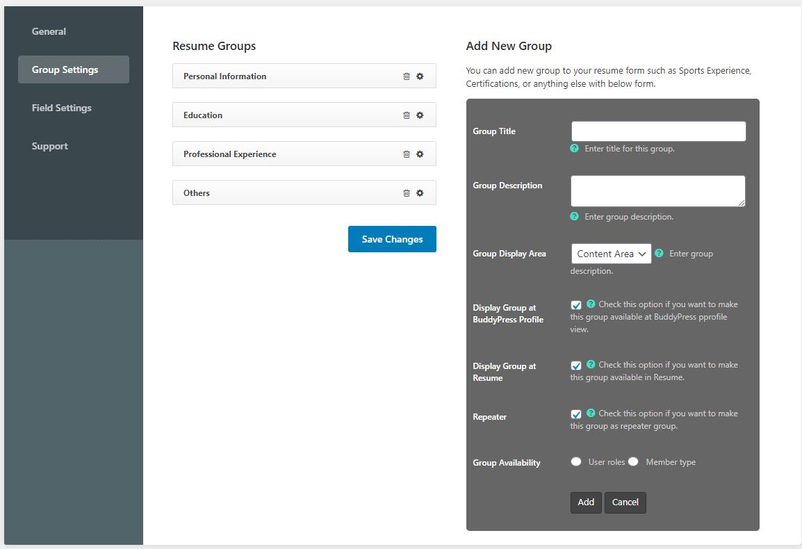 Add a professional resume to BuddyPress website